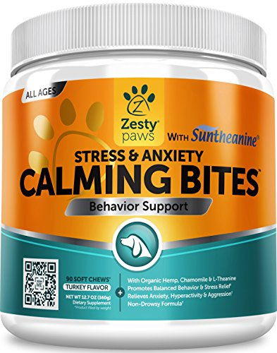 Zesty Paws Calming Treats Dogs - Anxiety Composure Relief Suntheanine -  Organic Kelp & Valerian Root L Tryptophan Dog Stress & Separation Aid in